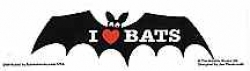 I Love Bats Bumper Sticker - Product Image