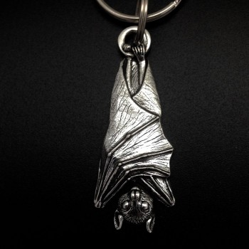 Pewter Fruit Bat Key Ring - Product Image