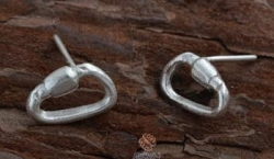 Silver Carabiner Post Earrings - Product Image