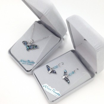 Wild Pearl (Abalone) Flying Bat Earrings and Pendant - Product Image
