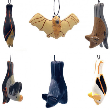 Balsa Wood Carved Bat Ornaments (Seven Styles) - Product Image