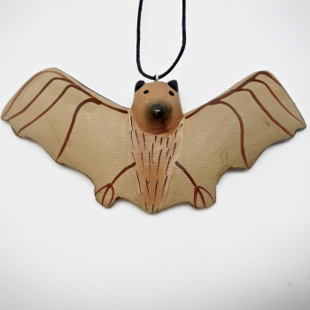 Balsa Wood Carved Flying Bat Ornament - Product Image