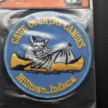 Cave Country Canoes Bat On Blue Round Patch - Product Image