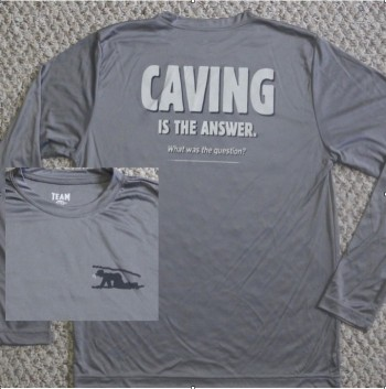 Caving Is The Answer Long Sleeve Performance Shirt (Back Design With Front Logo) - Product Image