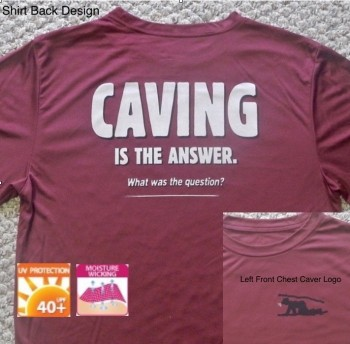 Caving Is The Answer Short Sleeve Performance Shirt (Back Design With Front logo) - Product Image