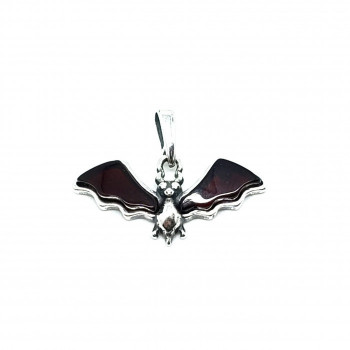 Cherry Amber Sterling Silver Bat Pendant - Product Image