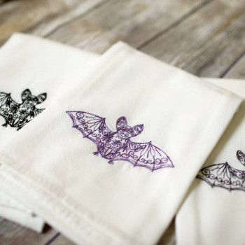 Embroidered Bat Guest Towel - Product Image