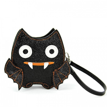 Glittery Bat Faux Leather Wristlet - Product Image