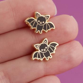 Itty Bitty Bat Enamel & Gold Plate Earrings - Product Image
