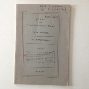 Journal of the Tennessee Acadamy of Science Cave Number (1930) - Product Image