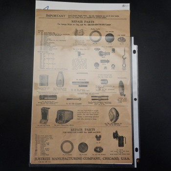 Justrite Manufacturing Company Repair parts sheet - Product Image
