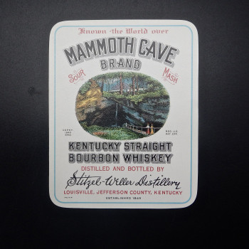 Mammoth Cave Brand Kentucky Straight Bourbon Whiskey label - Product Image