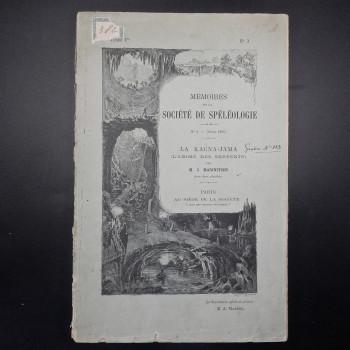 Memoires de la Societe de Speleologie, Tome 1 #3,1896 - Product Image