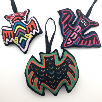 Mola Bat Ornament (3 Styles) - Product Image