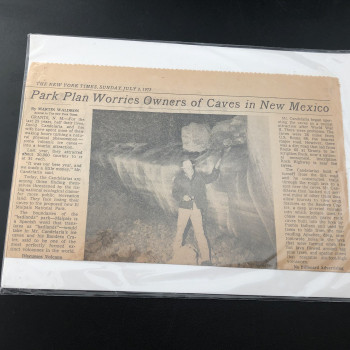 Newspaper article 1972 (Ice Caves NM) - Product Image