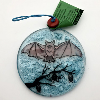 Painted Fused Glass Bat Ornament  - Product Image