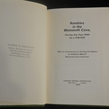 Rambles in the Mammoth Cave, During the Year 1844 by a visiter, Johnson reprint 1973 - Product Image
