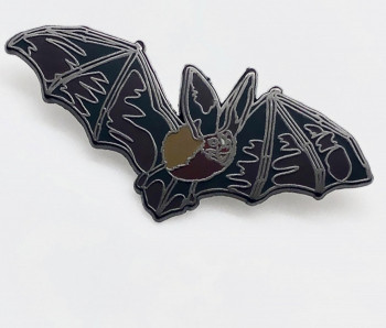 Realistic Enamel Big Eared Bat Pin - Product Image