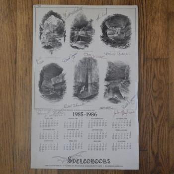 Speleobooks single sheet calendar 1985-1986 - Product Image