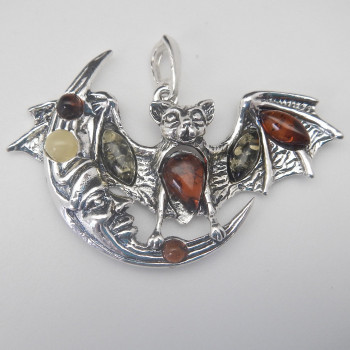 Sterling Silver and Amber Bat And Moon Pendant - Product Image