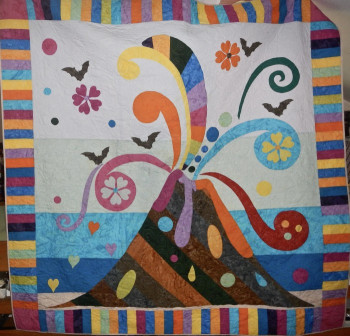 "Volcano and Bats Quilt 70"" by 70"" - Product Image"