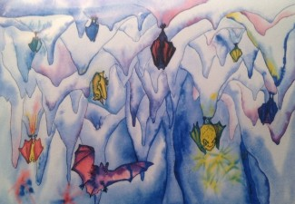 Watercolor Cave Bats Card - Product Image