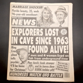 Weekly World News, Explorers Lost in Cave Since 1963 Found Alive - Product Image
